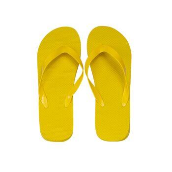 klassischer Zehentrenner, gelb, PE-Sohle, PVC-Riemen, Größe M (27,5 cm, 39-41)