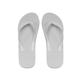 klassischer Zehentrenner, weiß, PE-Sohle, PVC-Riemen, Größe L (29 cm, 42-45)