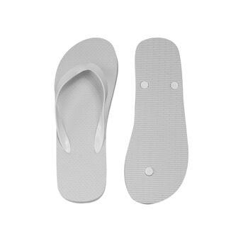 klassischer Zehentrenner, weiß, PE-Sohle, PVC-Riemen, Größe M (27,5 cm, 39-41)