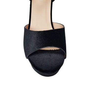 Schwarze Samt Damenschuhe - High Heels Sandalen von Moda Alice