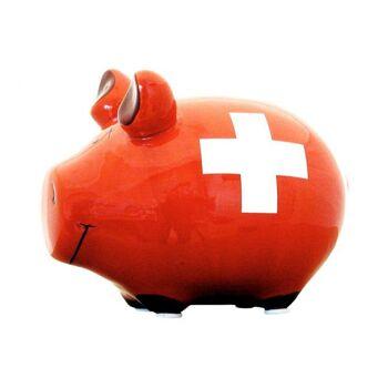 Spardose KCG Kleinschwein, Swiss Bank, aus Keramik, Art. 100569 (B/H/T) 12,5x9x9 cm
