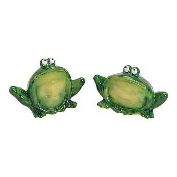Frosch glänzend aus Keramik Grün 2-fach, (B/H/T) 20x12x14cm
