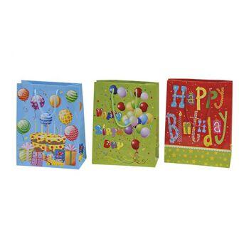 Geschenktüte Birthday aus Papier, 3-fach sortiert, B18 x T8 x H23 cm