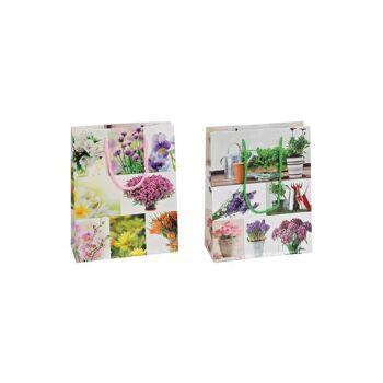 Geschenktüte Blumen aus Lackpapier, 2-fach sortiert, B18 x T8 x H23 cm