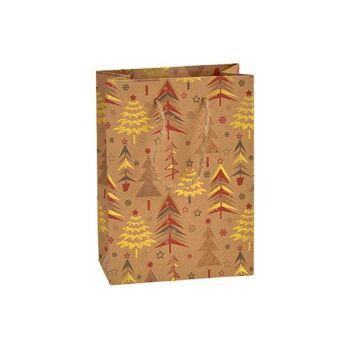 Geschenktüte Winterwald Dekor aus Papier/Pappe Braun (B/H/T) 11x16x6cm