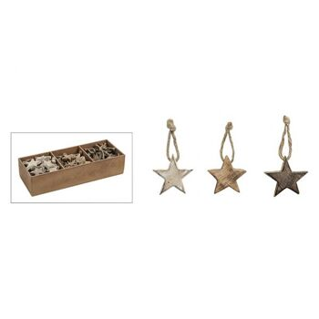 Hänger Stern in braun, aus Holz, 3-fach sortiert, 5 cm