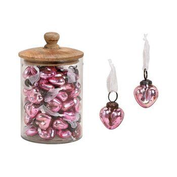 Herz Anhänger Glanzoptik aus Glas Pink/Rosa (B/H/T) 4x4x2cm 48 Stk im Glas mit Mangoholz Deckel 13x17x13cm