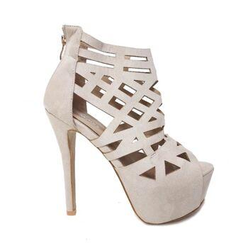 Beige Moda Alice Sandalen Schuhe aus Wildlederimitat mit Ausschnitten