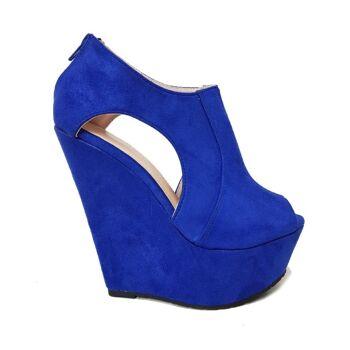 Blaue Faux Wildleder Moda Alice Peeptoe Schuhe für Frauen