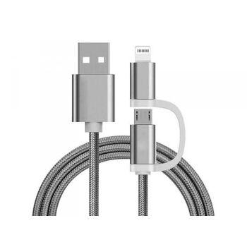 Reekin 2 in 1 Ladekabel (USB Micro & Lightning) - 1,0 Meter (Silber-Nylon)