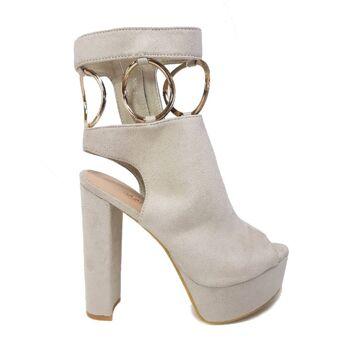Beige Moda Alice Schuhe aus Wildlederimitat mit Metallringen