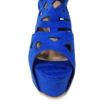 Blaue Moda Alice Sandalen Schuhe aus Wildlederimitat mit Ausschnitten