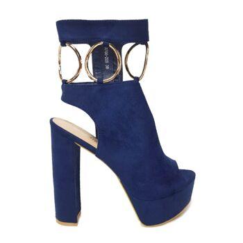 Blaue Moda Alice Schuhe aus Wildlederimitat mit Metallringen
