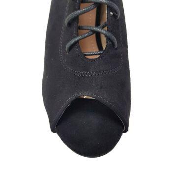 Moda Alice-Schuhe aus schwarzem Wildlederimitat - Sandalen mit offenem Absatz