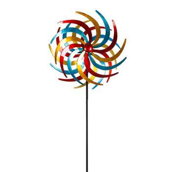 XXL Doppelwindrad Windrad Garten Dekoration Windspiel Metall 210 cm Ø 61 cm 2 Farben