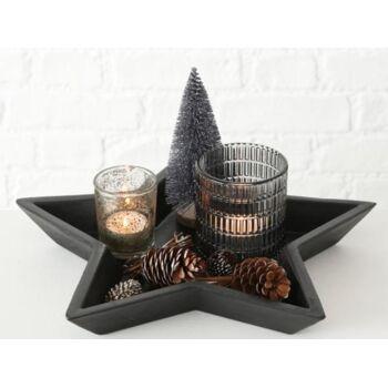 Deko Advents Teller Holz mit Teelicht und Weihnachtsdeko, 12-tlg., ca. 30 x 30 cm