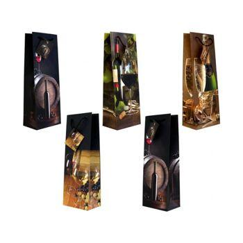 Geschenkbeutel Flasche groß (360x130x85 mm) Wein, mit farbiger Kordel in 5 Designs
