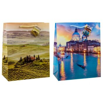 Geschenkbeutel mittel (23 x 18 x 10 cm), Toskana&Venedig,, matt 2-fach sortiert mit Kordel und Anhänger