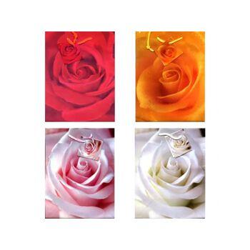 Geschenkbeutel mittel (230 x 180 x 100 mm), mit farbiger Kordel in 4 Designs, Rosenmotive