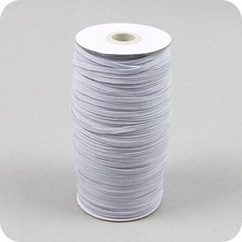 Gummiband flach, 3 mm breit, weiß, 160 m Rolle, bis 60° waschbar