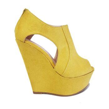 Gelbe Faux Wildleder Moda Alice Peeptoe Schuhe für Frauen