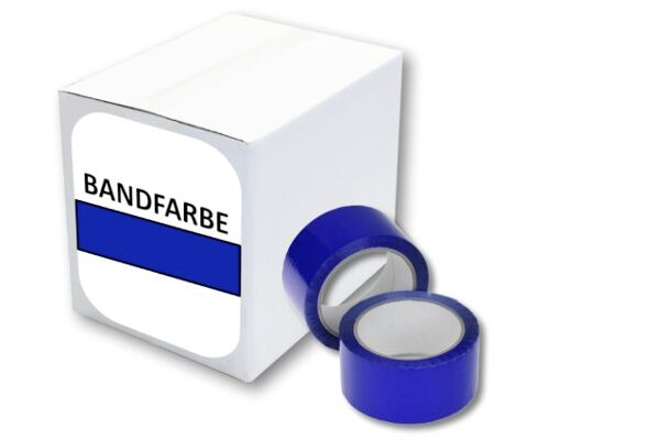Packband - Paketband - Kartonband [ 50 mm / 66 m ] [ BLAU ] [ LEISE ABROLLBAR ] [POLYPROPYLEN ] [ STARK KLEBEND ]