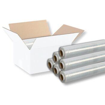 Stretchfolie - Wickelfolie für manuelle Verarbeitung [ B 500 mm - L 250 m - ST 23 µ ] [ 6 ROLLEN JE KARTON ] [ WEIß-OPAK ]