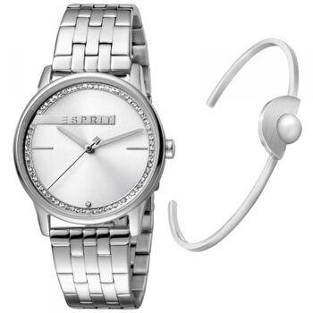 Esprit Uhr Uhren Damenuhr ES1L082M0035 Rock Silver + Edelstahlarmband