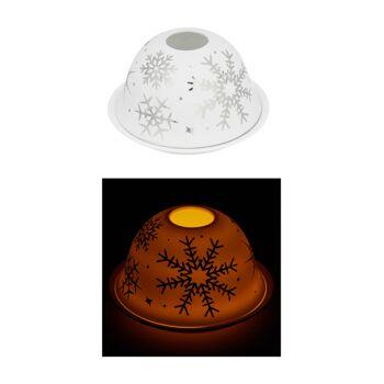 17-73321, Windlicht, Dome Silber Schneeflocke aus Porzellan, 12cm d