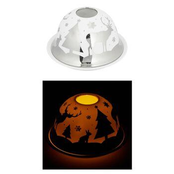 17-73323, Windlicht, Dome Silber, Hirsch mit Wald, aus Porzellan, 12cm d