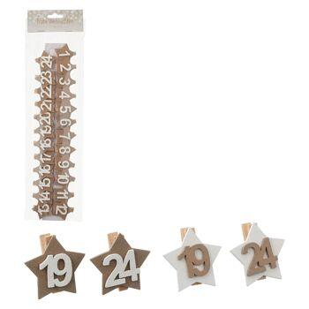 17-72621, Holz Dekoklammer für Adventskalender, 24-teilig