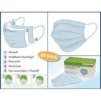 Medizinischer Mund-Nasen-Schutz, OP-Maske. 3-lagig im 50er Karton, CE, TÜV, Medizinprodukt, sofort lieferbar! FREI HAUS!