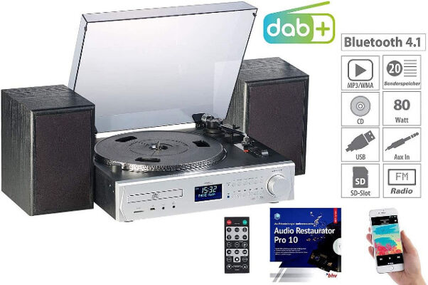 auvisio Musikanlage MHX-620 Plattenspieler/Digitalisierer, BT, DAB+, CD, MC, USB, MP3, Kompaktanlage Stereoanlage Digitalradio