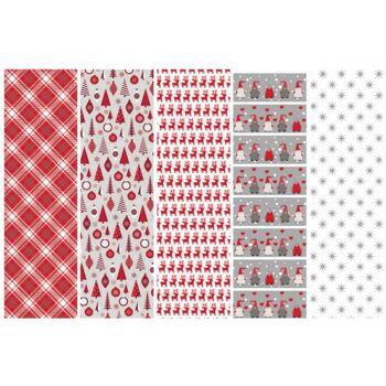 Geschenkpapier / Kraftpapier mit Weihnachtsmotiven 70x200 cm, auf Rolle, 4-fach sortiert, im 60er Displaykarton