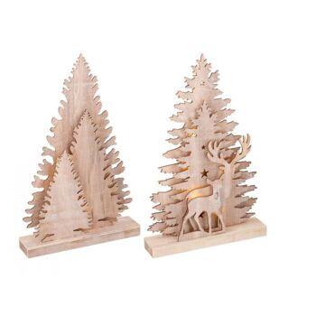 LED Deko Baum Holz, warmweißes Licht, 10 LED mit TIMER, 2-fach sortiert, ca. 35 x 21 x 5,5 cm, batteriebetrieben (nicht enthalten)