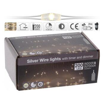 LED Wasserfall Silberdraht Beleuchtung für Außen 200 LED warmweiß, 10 Stränge á 200 cm, mit TIMER & Dimmer