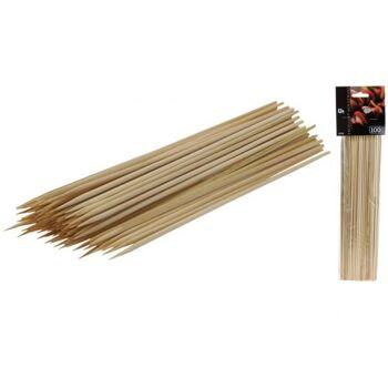 Schaschlik - Spieße 25 cm aus Holz, 100er-Pack, einseitig angespitzt, im Polybag mit Header