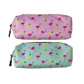 Schlamperetui, Federmäppchen, Flamingo,, 2 fach sortiert, Größe: 23 x 8 x 4,5 cm