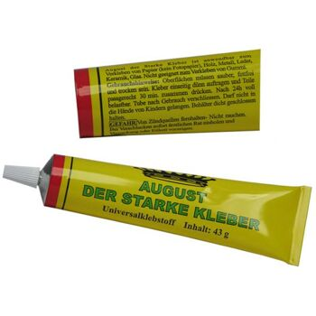 Universalklebstoff ''August'' 43 g in Metalltube, ''August, der starke Kleber'', Made in EU