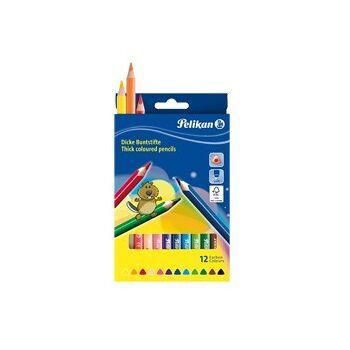 12-724039, PELIKAN Jumbobuntstifte 12er Set, lackiert 3kant ergonomisch dick, Malstifte