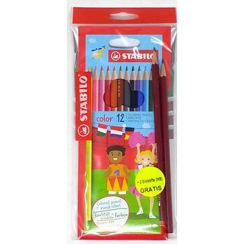 12-871998, Stabilo Buntstifte 12er Set mit 2 Bleistifte gratis, Malstifte - SONDERPOSTEN