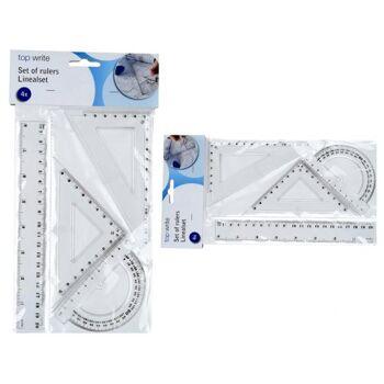 Geometrie-Set 4tlg., 1 x Winkelmesser,, 2 x Dreieck, 1 x Lineal 20 cm, im Blisterbeutel