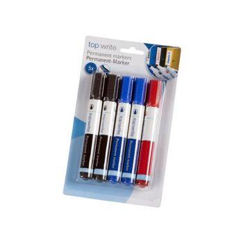 Permanentmarker 5 er Set, auf Blister, 2x schwarz, 2x blau, 1x rot, Topwrite