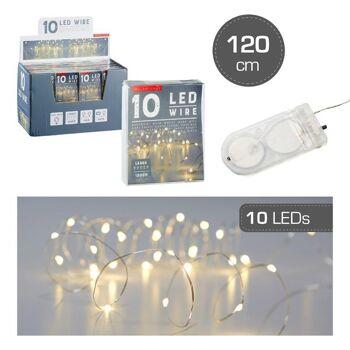 Lichterkette Mikro, 10 LED, Knopfzelle, 120cm, Weihnachten Sonderposten