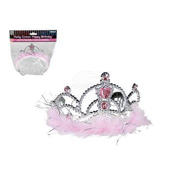 Party-Krone mit rosa Dekosteinen & Plüsch