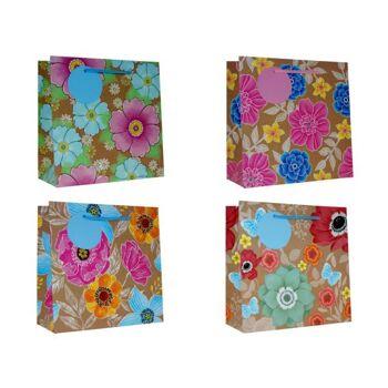 Geschenkbeutel klein (19 x 19 x 8,5 cm) Blumen,, 5 Desings, starker Karton