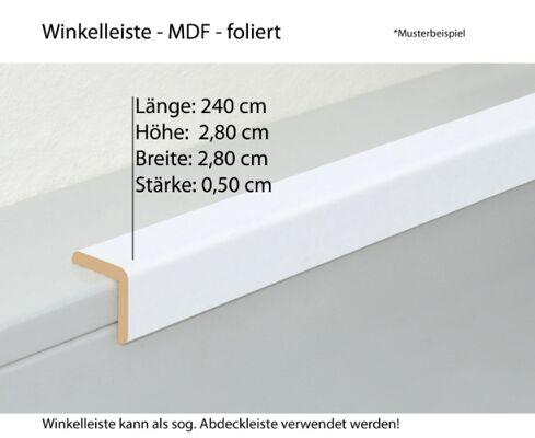 MDF Winkelprofil * 28 x 28 mm (HxB) * Länge: 2,40 m * MDF foliert, in Weiß (stucco+kristall) * Abdeckprofil * günstig kaufen ab Werk