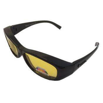 Figuretta Nacht-Überbrille in schwarz mit gelben Gläsern aus der TV Werbung