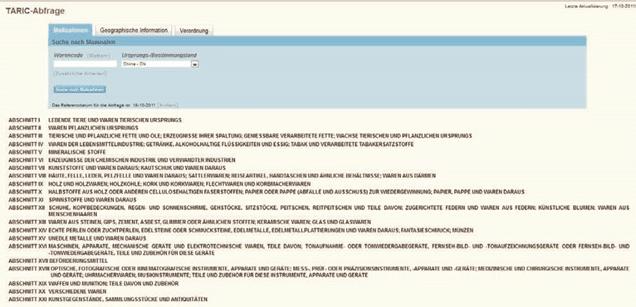 TARIC Warenverzeichnis Abschnitte