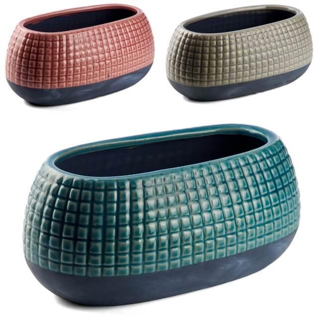 Keramik-Übertopf Steckschale oval